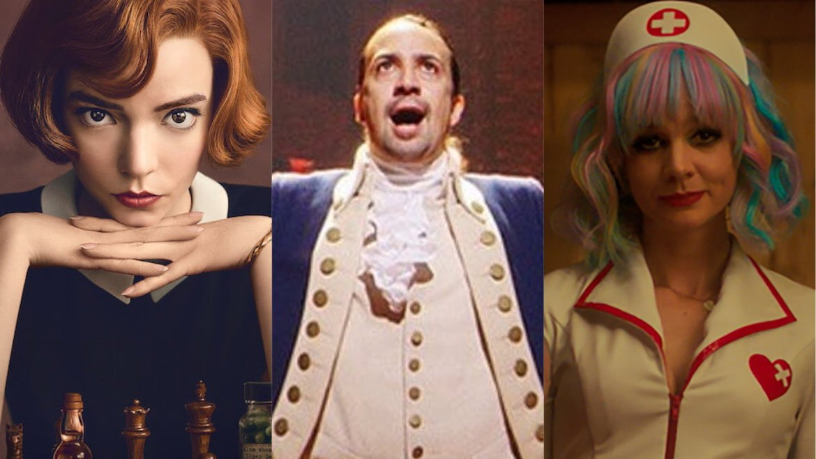 A collage of 2021 Golden Globe nominees The Queen's Gambit, Hamilton, and Promising Young Woman.