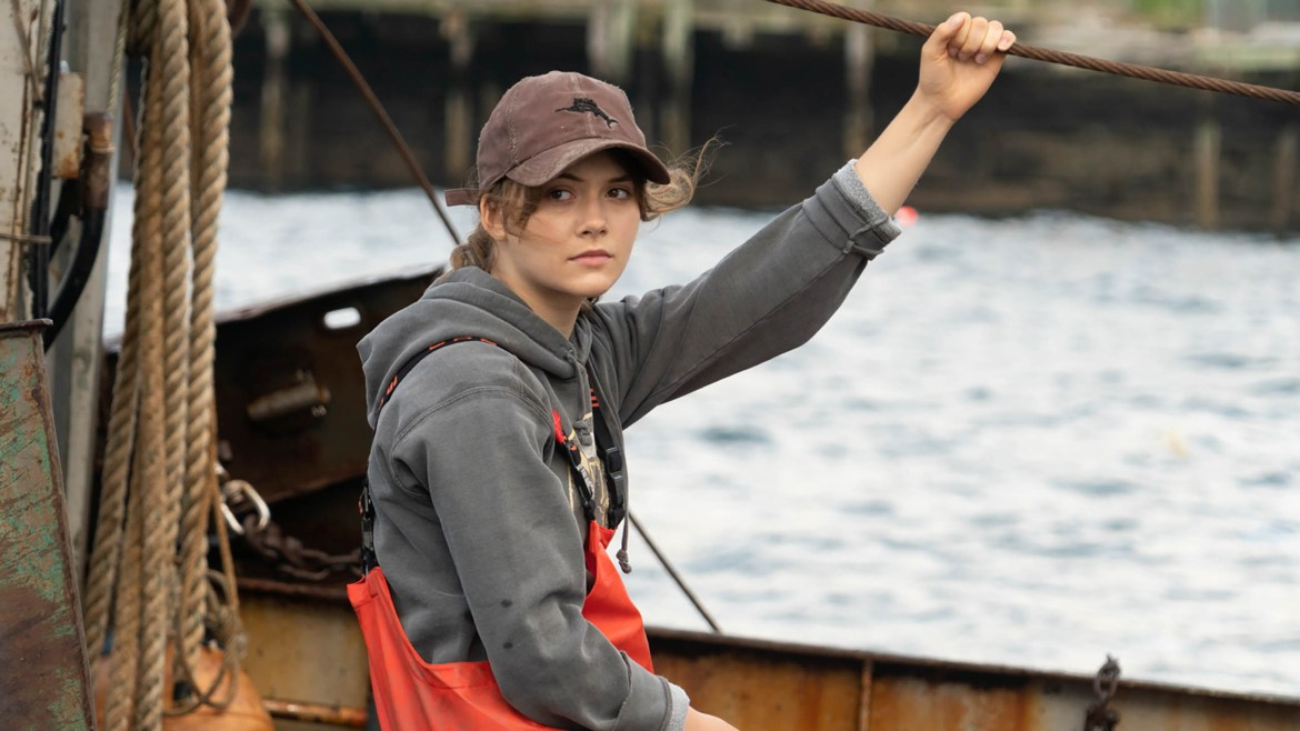 Emilia Jones on a fishing boat as seen in the Sundance 2021 film CODA.