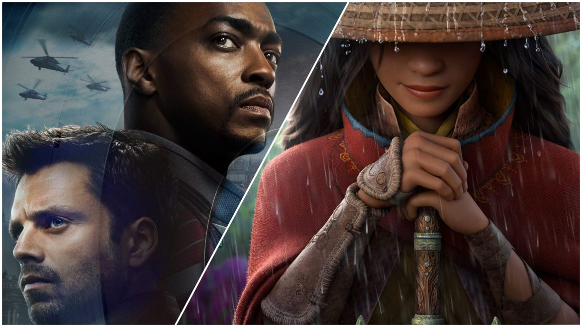 A poster collage of Raya and the Last Dragon and The Falcon and the Winter Solider, both coming to Disney+ in March 2021.