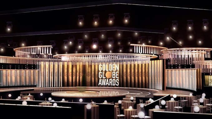 The stage at the Beverly Hilton hotel where the winners at the 78th annual Golden Globes will be announced.