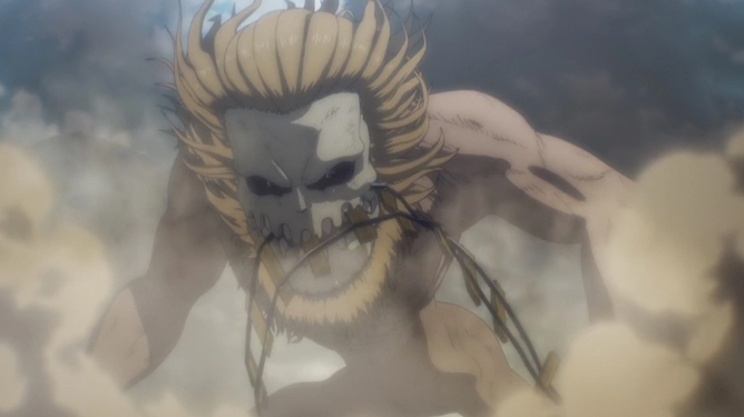 the Jaw Titan, a titan with a bone face, large teeth, and a mane of blond hair, holds a railway track in his teeth, with smoke around him, in Attack on Titan.