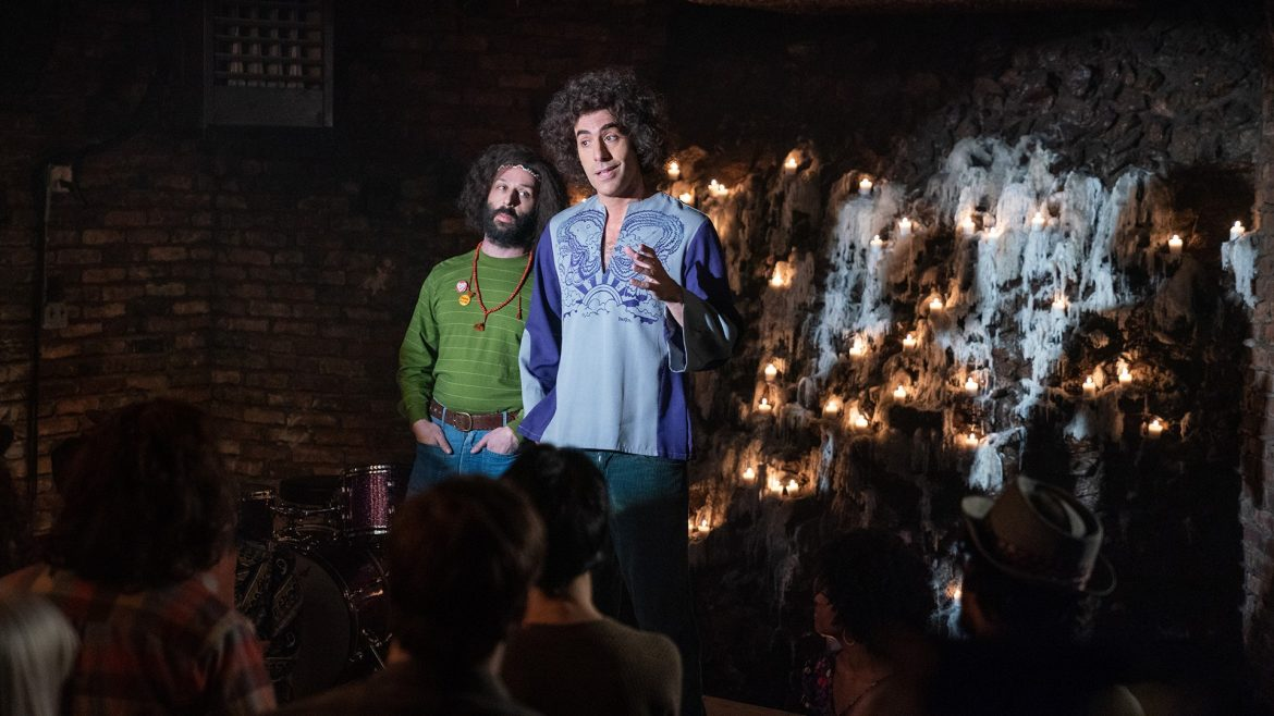Sacha Baron Cohen as Abbie Hoffman as seen in The Trial of the Chicago 7 on Netflix.