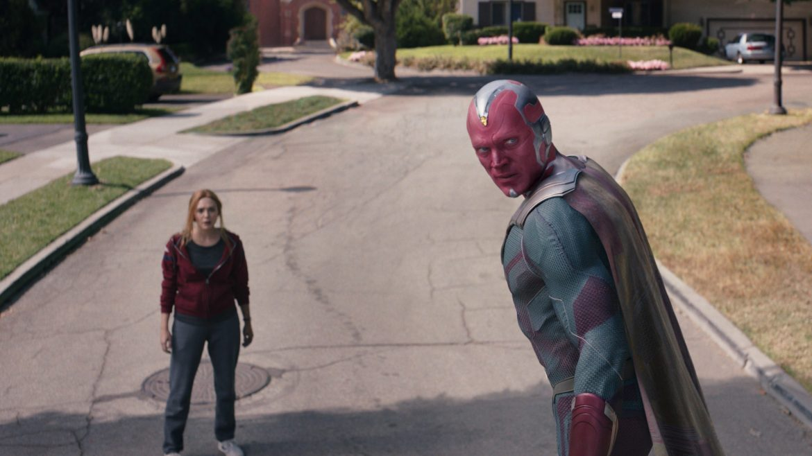 Wanda and the Vision prepare for a battle in WestView as seen in the series finale of WandaVision.