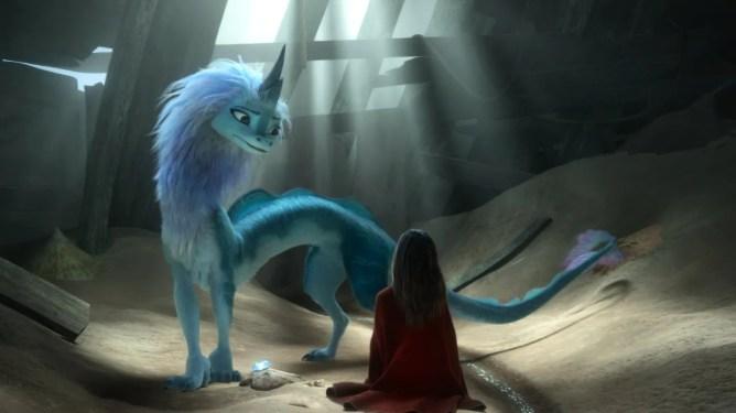 Sisu the legendary water dragon meets the humble princess Raya as seen in Raya and the Last Dragon directed by Don Hall and Carlos López Estrada