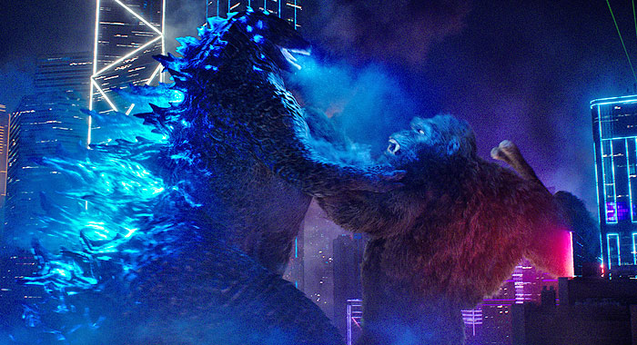 Kong prepares to punch Godzilla as Godzilla charges up for a nuclear blast as seen in Godzilla vs Kong with music by Junkie XL.