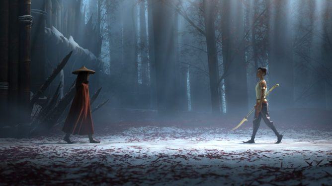 Raya and her nemesis Namaari face off with deadly swords in the snow as seen in Raya and the Last Dragon directed by Don Hall and Carlos López Estrada.