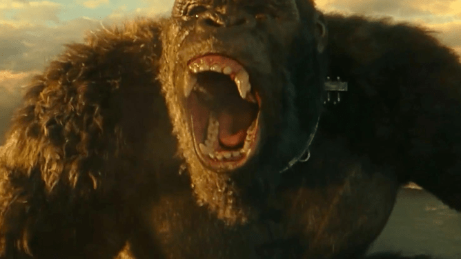 Kong, with a metal clasp on his neck, roars in Godzilla vs Kong.