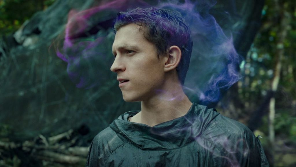 Tom Holland using his mind powers with the Noise as seen in Chaos Walking.