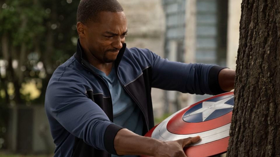 Anthony Mackie as Sam Wilson training with the Captain America shield as seen in The Falcon and the Winter Soldier directed by Kari Skogland.