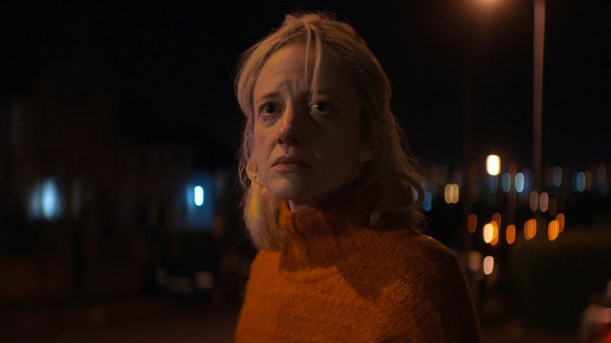 Andrea Riseborough as seen in the new psychological drama Here Before.