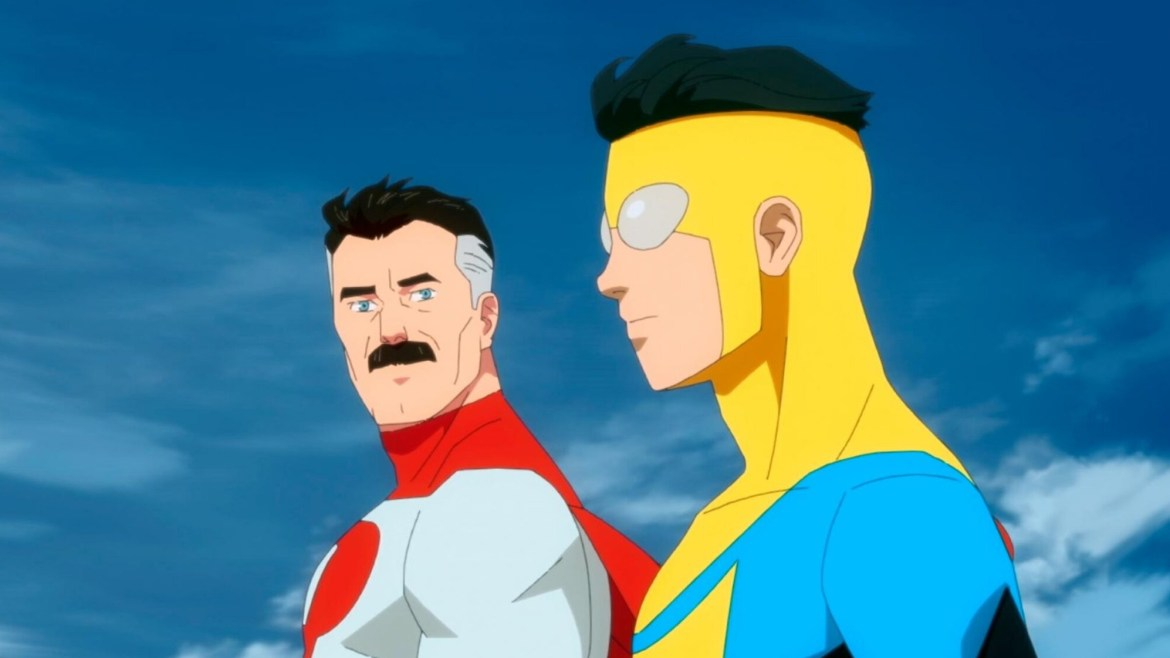 Invincible voiced by Steven Yeun and Omni-Man voiced by J.K. Simmons in the Amazon animated series Invincible.