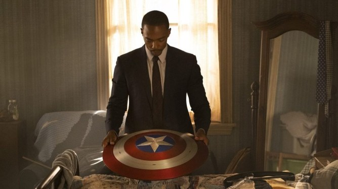 Anthony Mackie as Sam Wilson putting away the Captain America shield as seen in The Falcon and the Winter Solider series premiere.