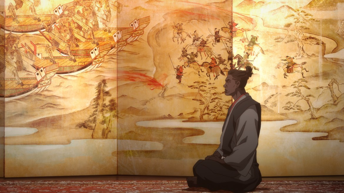Yasuke voiced by LaKeith Stanfield meditating as seen in the new Netflix anime series created by LeSean Thomas.