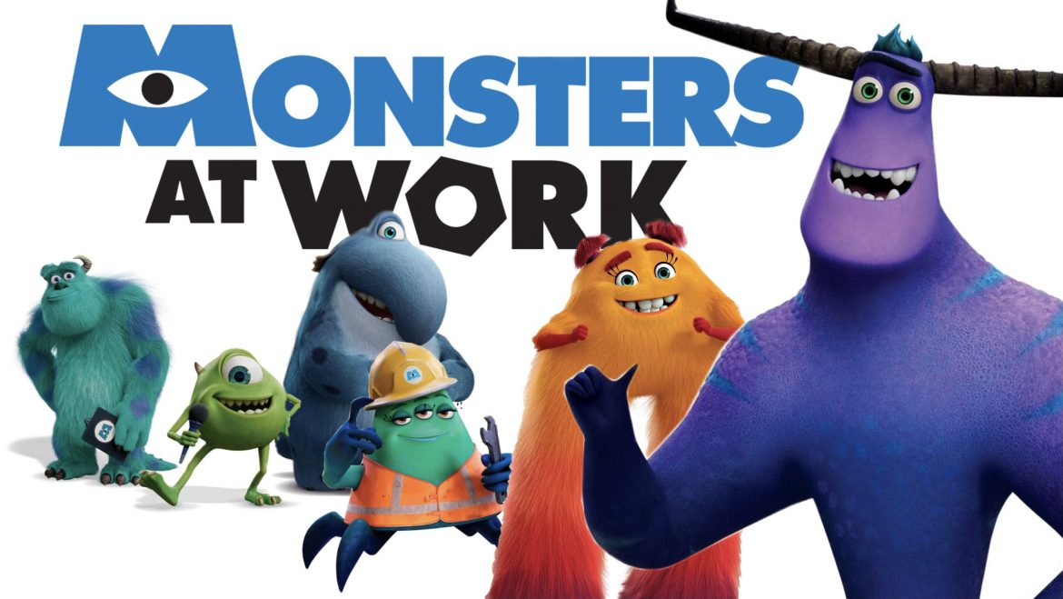 The main cast of Monsters at Work including Mike and Sully, Tylor Tuskmon, Fritz, Val Little, and Cutter.