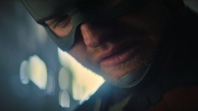 Wyatt Rusell as John Walker looking defeated in Episode 5 of The Falcon and the Winter Soldier.