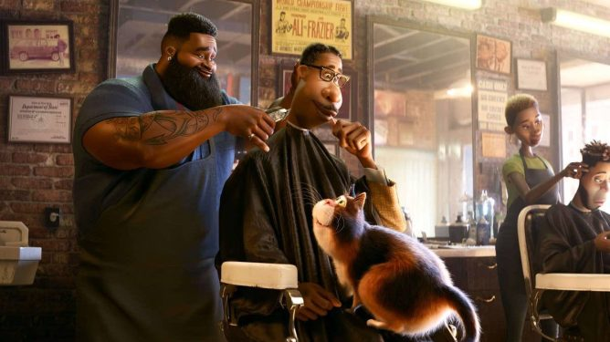 Joe Gardner getting a haircut at his local barbershop while his cat sits on his lap as seen in Soul directed by Pete Docter.