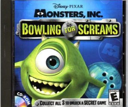 The cover for the Bowling for Screams tie-in CD-ROM game for Monsters Inc. featuring Mike Wazowski.