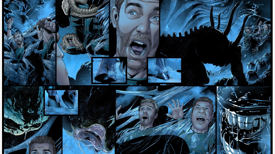 A comic page of people getting harvested by xenomorphs as seen in the new Alien comic series from Marvel.