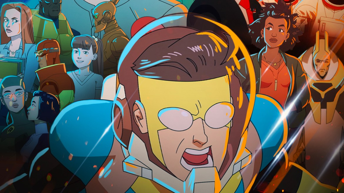 The poster for the Invincible animated series by Robert Kirkman on Prime Video.