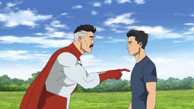 Invincible voiced by Steven Yeun and Omni-Man voiced by J.K. Simmons having a heart to heart conversation in the Amazon animated series Invincible.