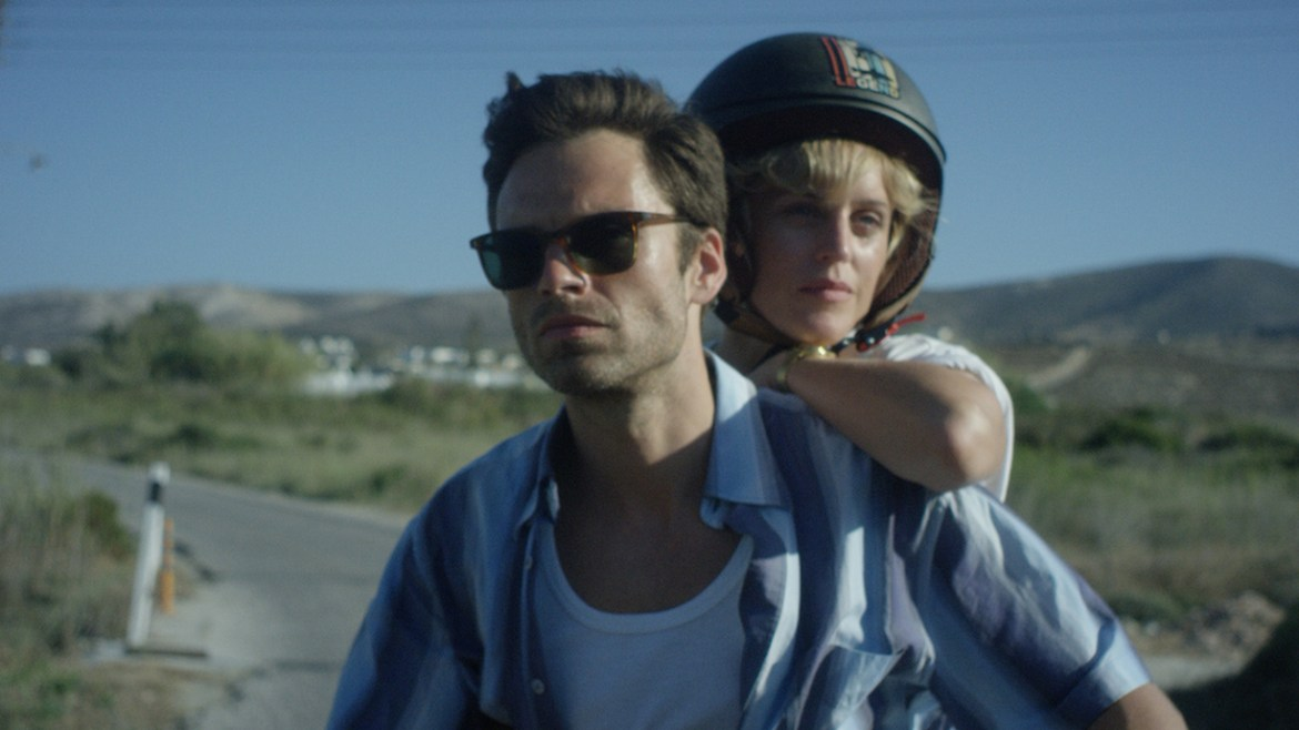Denise Gough and Sebastian Stan riding a motorcycle together as seen in the new romantic drama Monday.