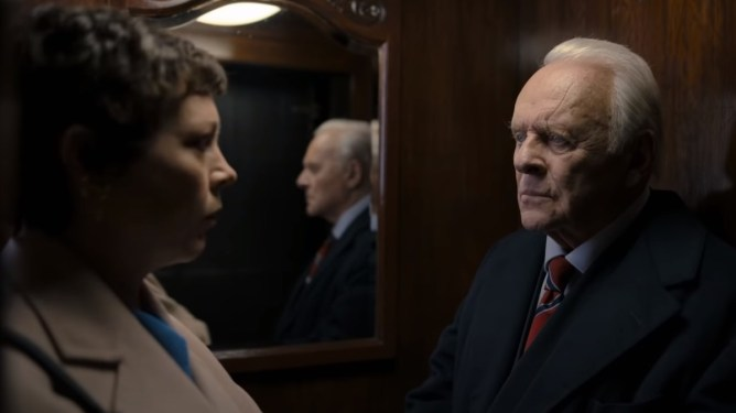 Best Actor Oscar Winner Anthony Hopkins with Olivia Colman as seen in The Father.