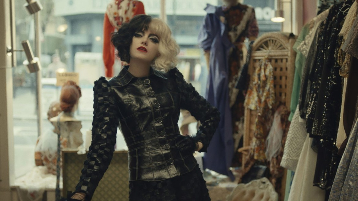 Emma Stone striking a pose as the villainous Cruella as seen in Disney's latest live-action adaptation of a classic tale.
