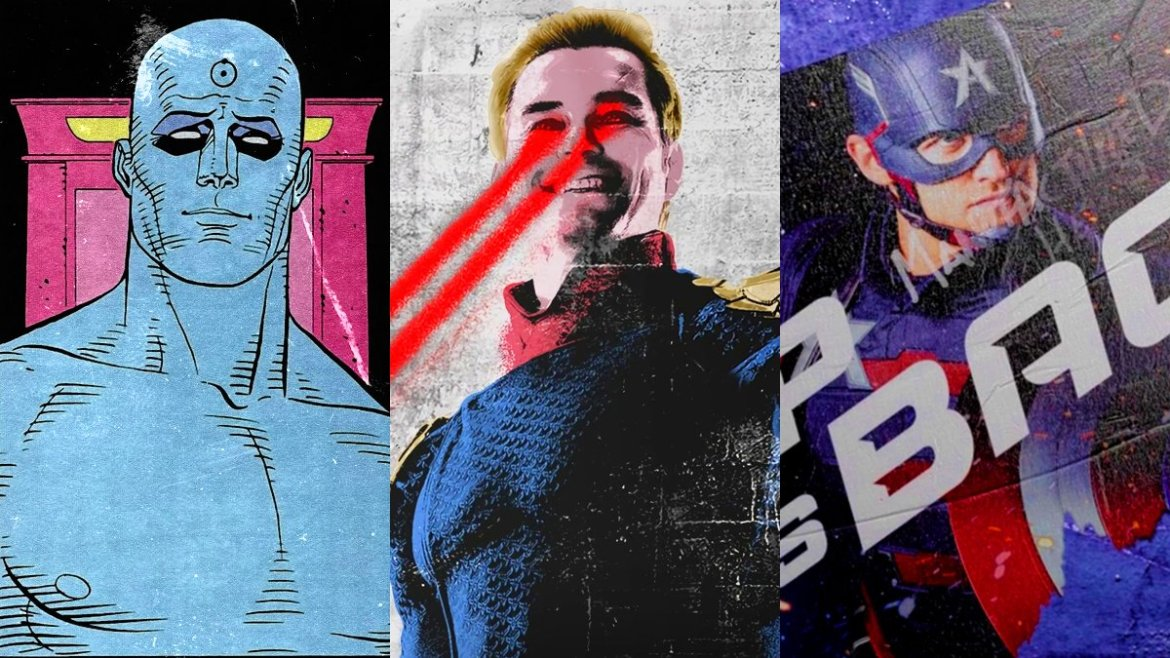 A collage showing Doctor Manhattan from Watchmen, Homelander from The Boys, and John Walker from The Falcon and the Winter Solider.