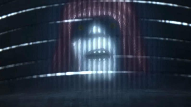 A hologram of Emperor Palpatine giving a speech to the troops as seen in the new Star Wars animated series The Bad Batch on Disney+
