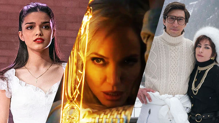 A collage of West Side Story, Eternals, and House of Gucci, all making our early predictions for the 2022 Oscars.