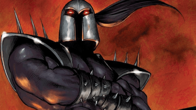 Black Spectre stands with his arms crossed. He wears armor, with red eyes peaking through his helmet and spikes on his shoulders and wrists. He makes our second choice as to who Ethan Hawke will be playing in Moon Knight on Disney+.