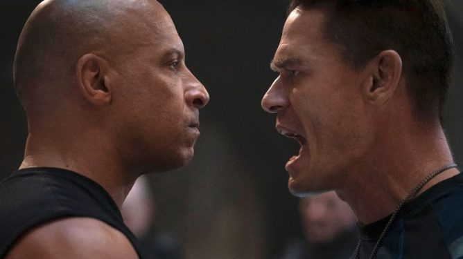 Vin Diesel and Dominic Toretto and John Cena as his younger brother Jakob Toretto having a close face off as seen in F9.