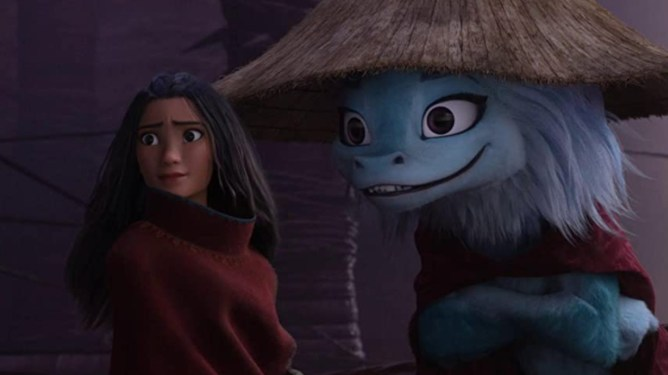 The warrior princess Raya and Sisu the magical dragon in disguise as seen in Raya and the Last Dragon now free on Disney+ in June.