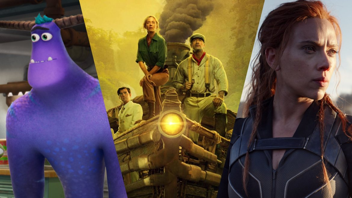 a collage of MONSTERS AT WORK, JUNGLE CRUISE, and BLACK WIDOW, all major titles coming to Disney+ in July.