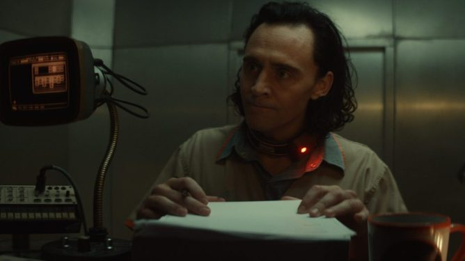 Tom Hiddleston checks himself into time jail at the TVA as seen in the new Marvel Disney+ series Loki.