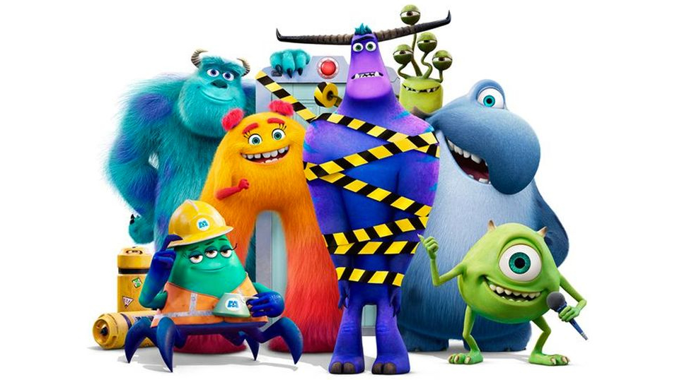 Mike and Sulley with the new monster cast of MONSTERS AT WORK as seen in the new Pixar series on Disney+.