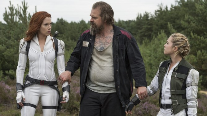 Natasha Romanoff and Yelena are reunited with David Harbour as the Red Guardian as seen in the Marvel Studios film BLACK WIDOW.