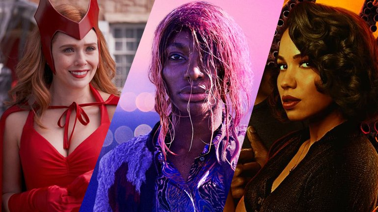 A collage showing Elizabeth Olsen from WANDAVISION, Michaela Cole from I MAY DESTROY YOU, and Jurnee Smollett from LOVECRAFT COUNTRY, all making our first round of 2021 Emmy Predictions.
