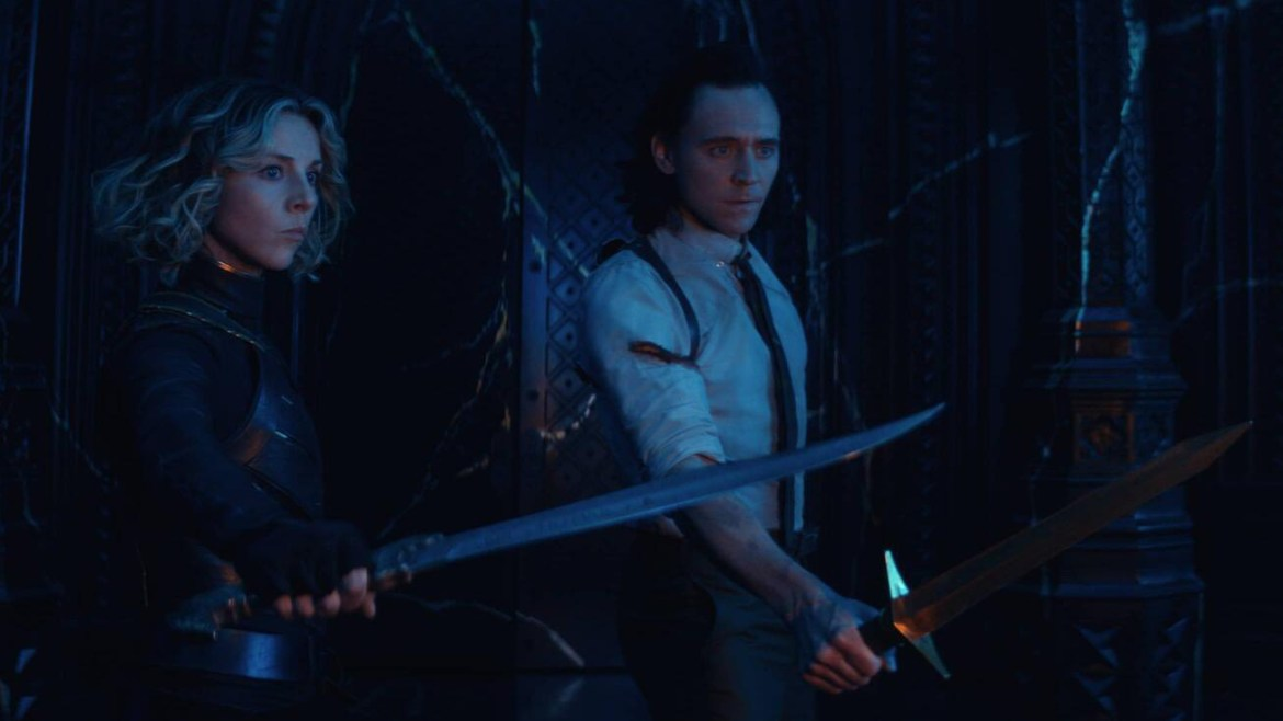 Sylvie and Loki pull out their blades to Kang the Conquer in his time citadel as seen in the season 1 finale of LOKI on Disney+.