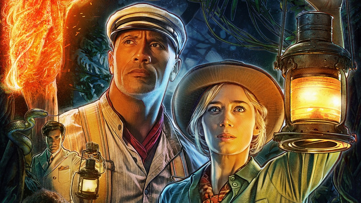"""Dwayne """"The Rock"""" Johnson and Emily Blunt lead the cast of Disney's JUNGLE CRUISE on the official painted poster."""