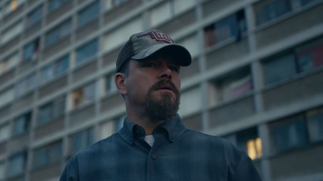 Matt Damon lost in a French apartment complex as seen in the new thriller drama STILLWATER.