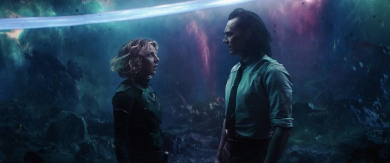 Sophia di martino as Sylvie and Tom Hiddleston as Loki in the Disney+ series