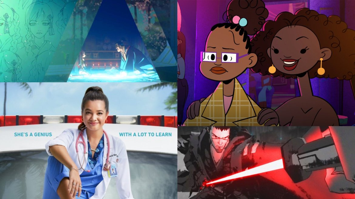 A collage of the new comedy Doogie Kameāloha, M.D. and the new anime series Star Wars: Visions, both coming to Disney+ September 2021.