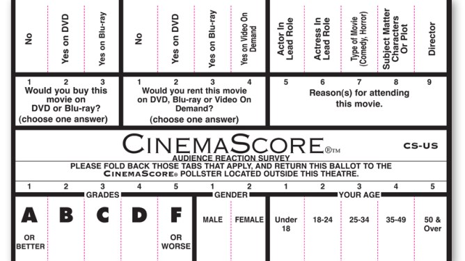 The survey test card handed out to moviegoers across North America as conducted by CinemaScore.