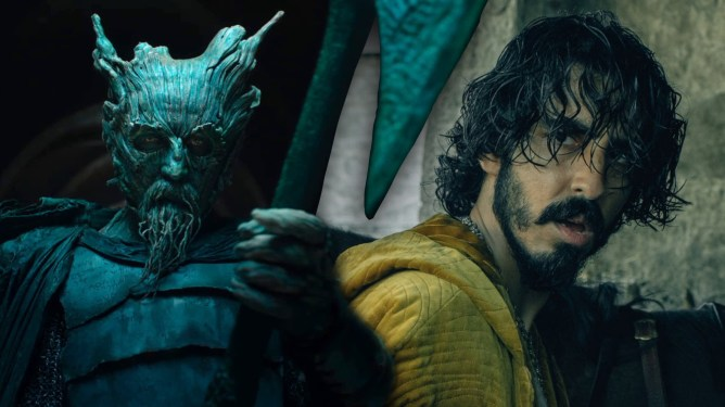 Ralph Inseon as the titular Green Knight holding his mighty axe collaged next to Dev patel as Sir Gawain as seen in the latest A24 film.
