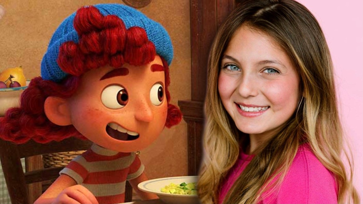 Actress Emma Berman next to her animated character Giulia Marcovaldo from the Pixar and Disney film LUCA.