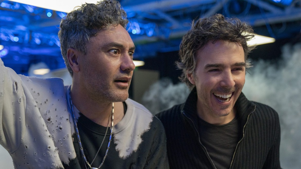 Taika Waititi as Antwan next to director Shawn Levy on the set of the new video game action comedy FREE GUY.