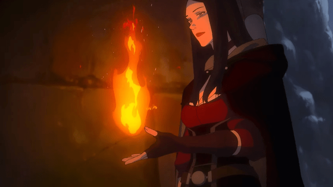 Tetra creating a ball of fire as seen in the anime-inspired film THE WITCHER: NIGHTMARE OF THE WOLF.