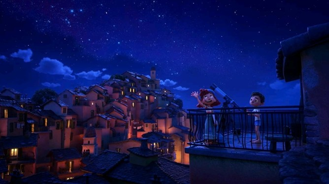 Giulia voiced by Emma Berman showing Luca voiced by Jacob Tremblay the Italian night sky filled with stars as seen in the Disney and Pixar film LUCA.