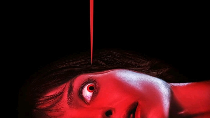 The bloody neon red poster for MALIGNANT directed by James Wan, coming to HBO Max September 2021.